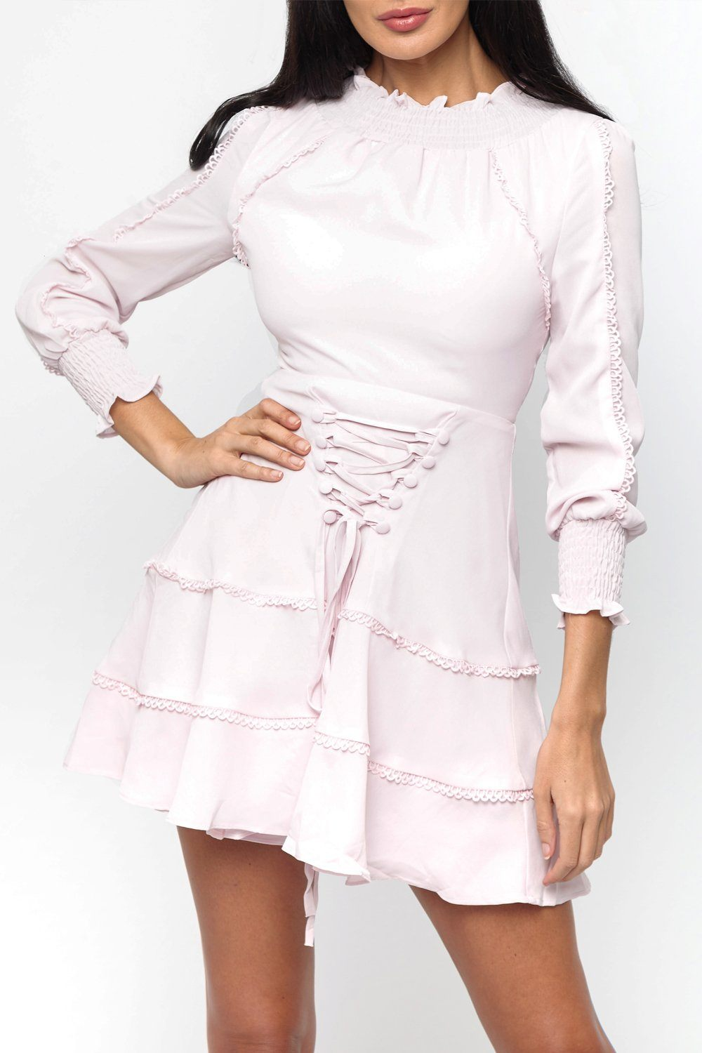 Tori Lace Up Mini Dress in Baby Pink 69% off 2cccbc1db