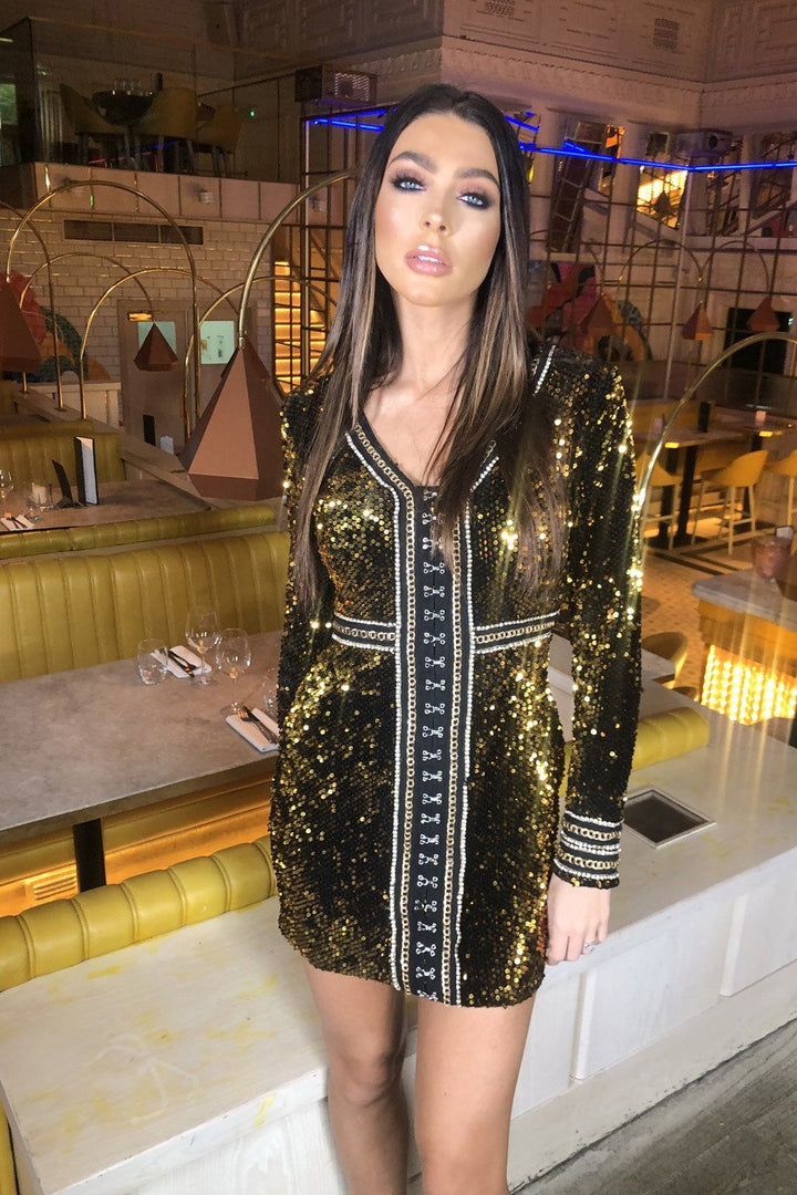 Solange Sequin Mini Dress in Gold