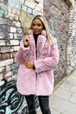 Lola Faux Fur Jacket in Blush