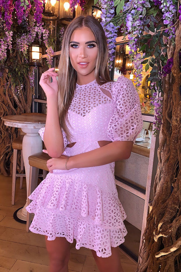 Daisy Lace Cut out Mini Dress in Lilac