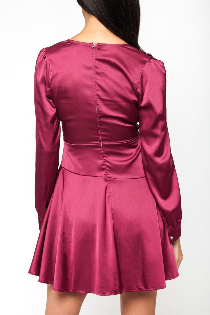 Giselle Satin Mini Dress in Fuchsia