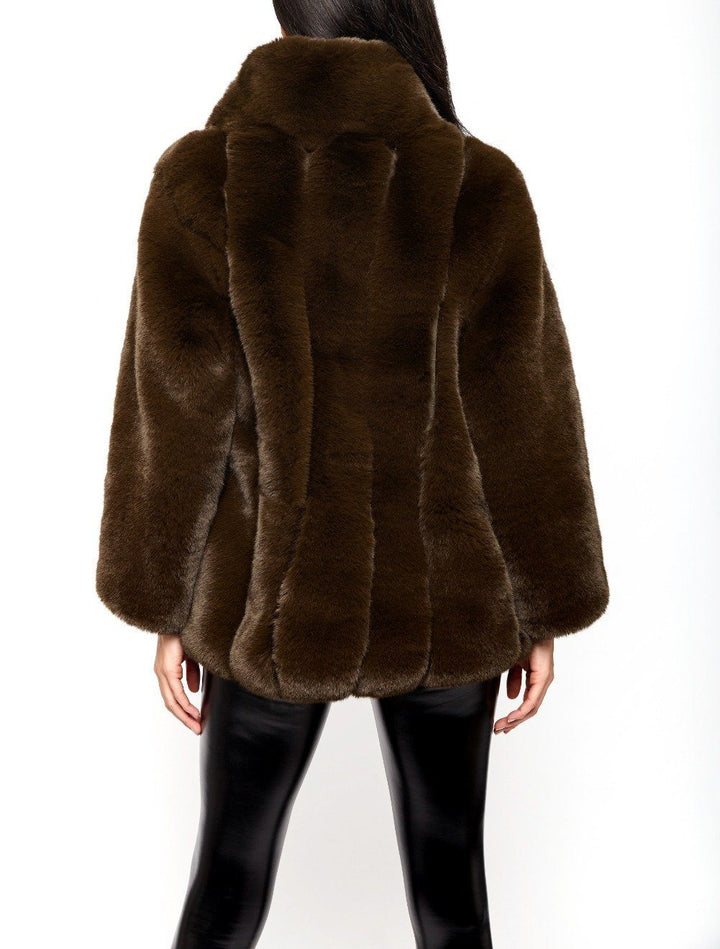 Carter Collared Faux Fur Coat in Green
