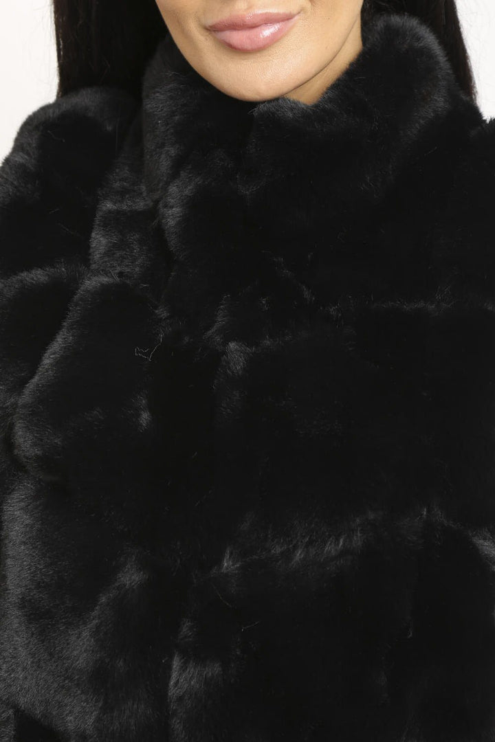 Chrissie Faux Fur Long Gilet in Black