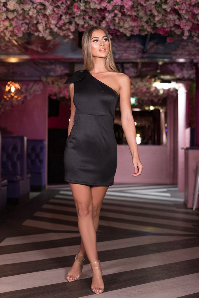 Abby One Shoulder Bow Mini Dress In Black Cari S Closet