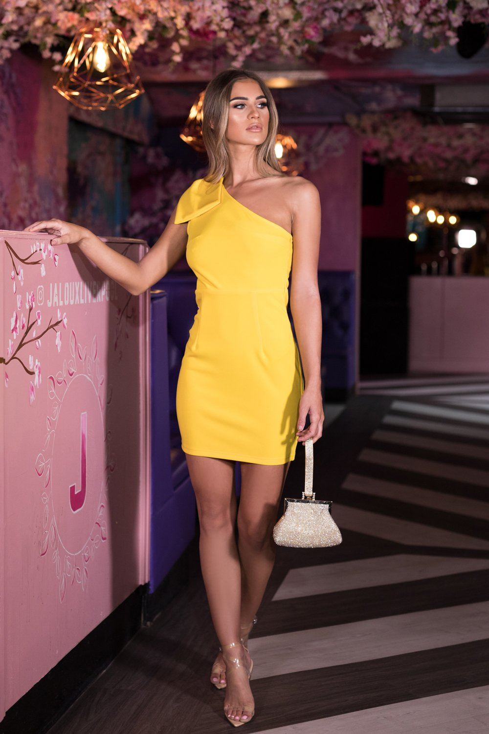 268b146cc6a Abby One Shoulder Bow Mini Dress in Yellow