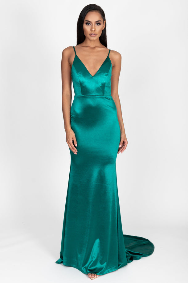 Allyson Satin Gown in Emerald Green