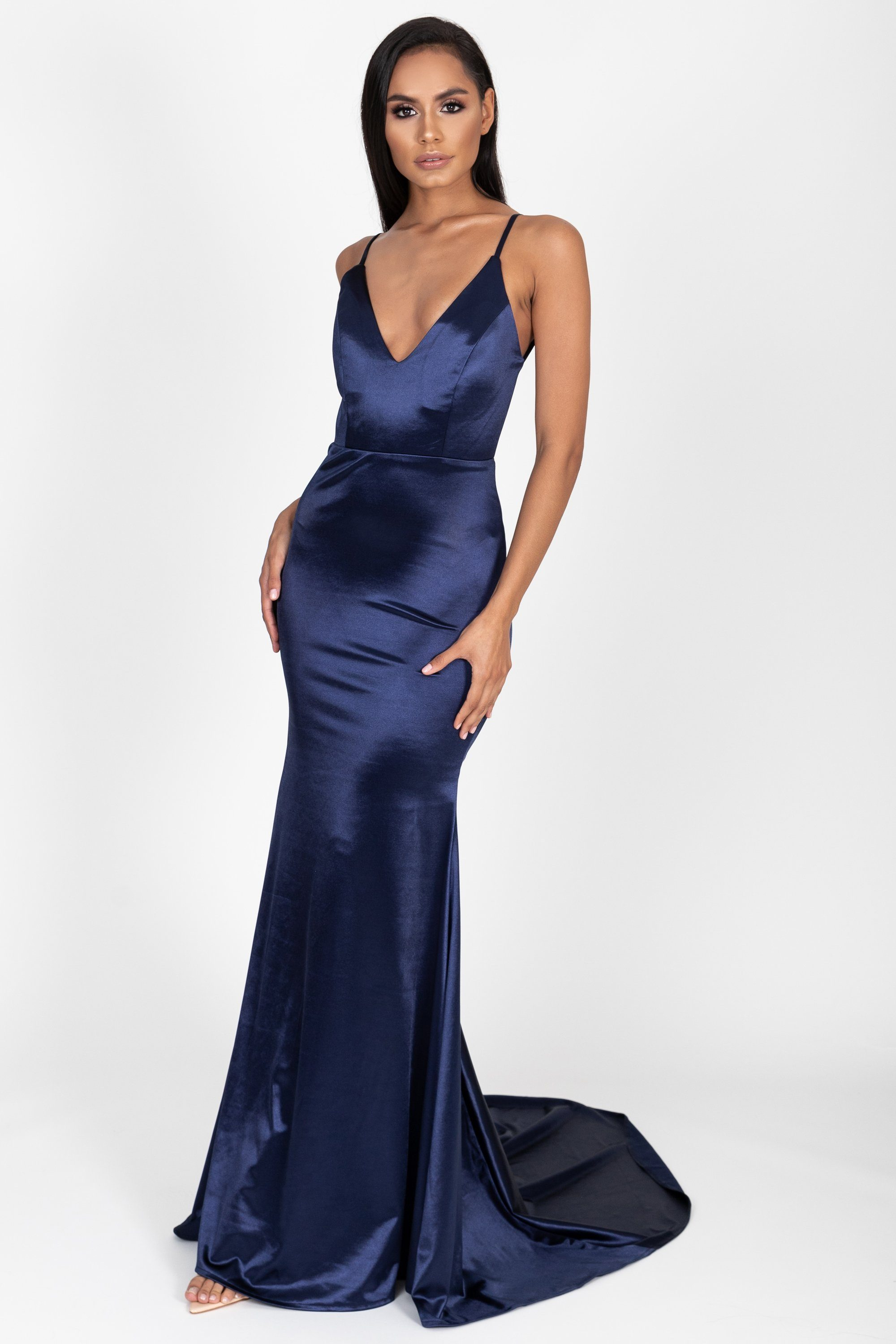 97fc9893d7ab Allyson Satin Gown in Navy