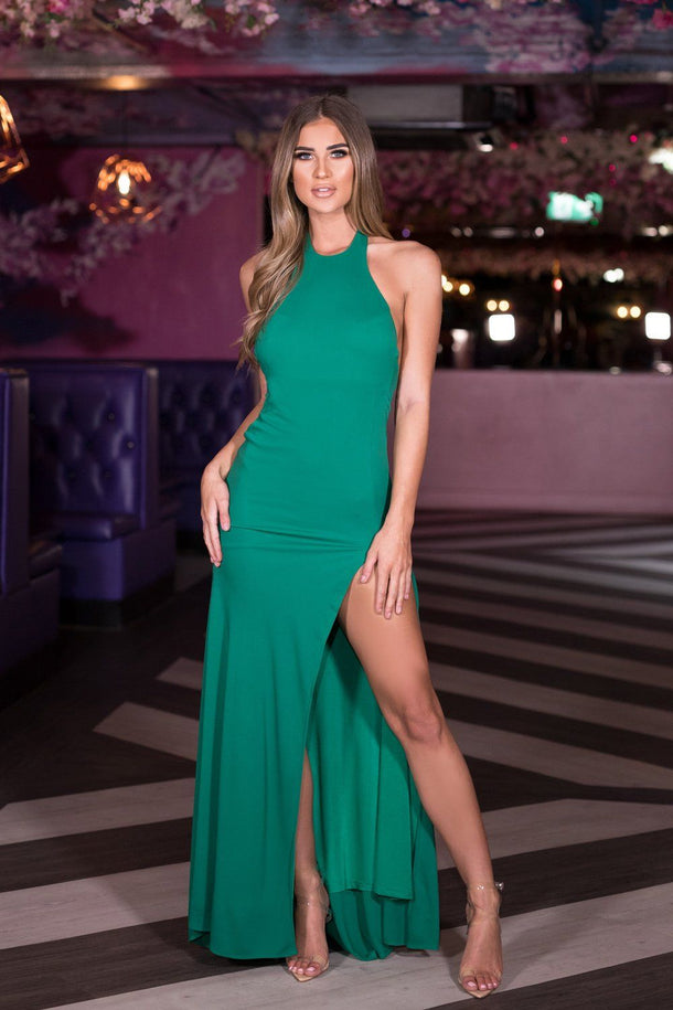 Amara Long Gown in Bottle Green