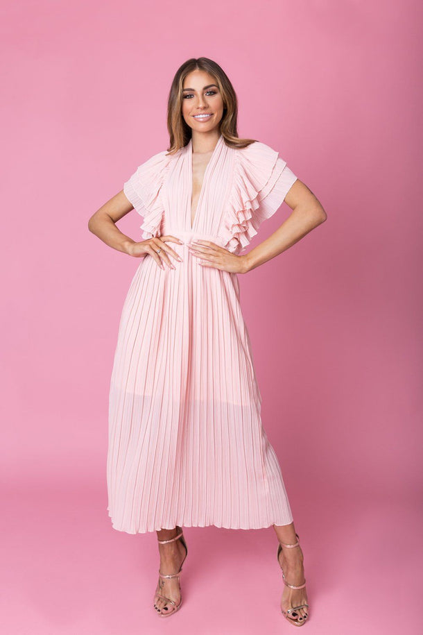 Anna Ruffle Pleated Dress in Blush