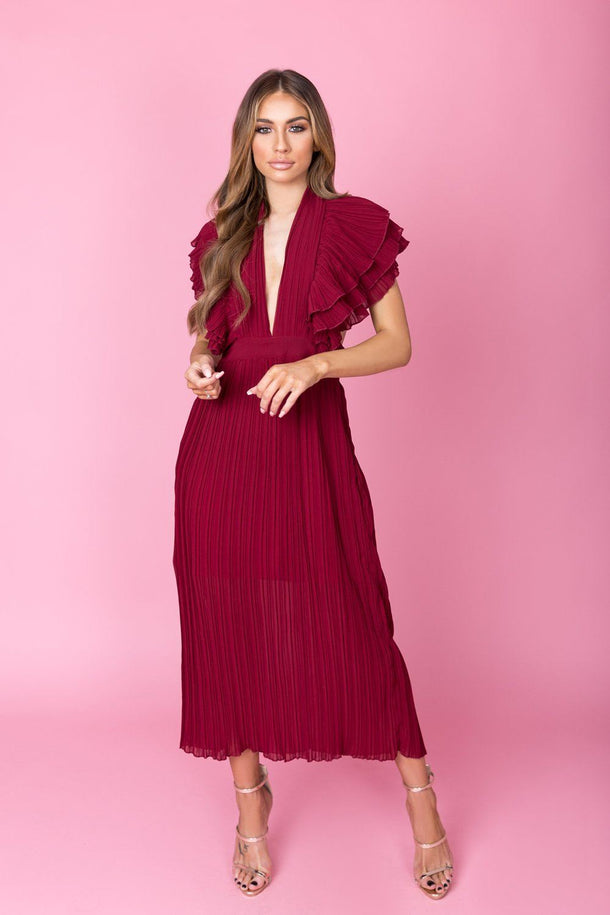 Anna Ruffle Pleated Dress in Burgundy