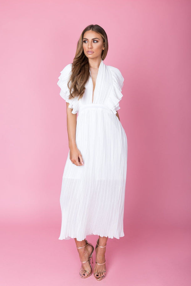 Anna Ruffle Pleated Dress in White