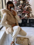 Elise Luxury Faux Fur Gilet in Beige