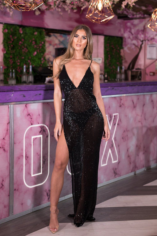 Belinda Sequin Long Gown in Black