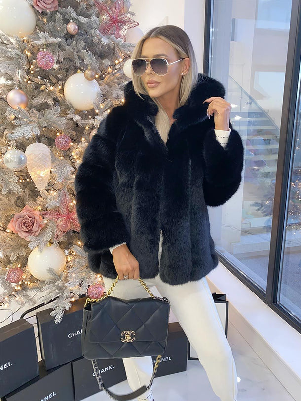 Coco Luxury Faux Fur Coat in Black
