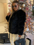 Renee Luxury Faux Fur Coat in Black