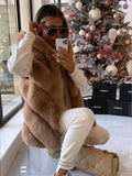 Elise Luxury Faux Fur Gilet in Camel