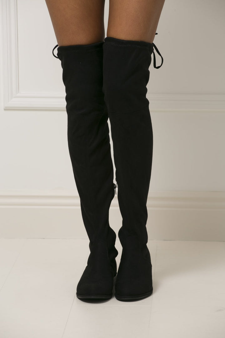 Kira Flat Suede Boot in Black