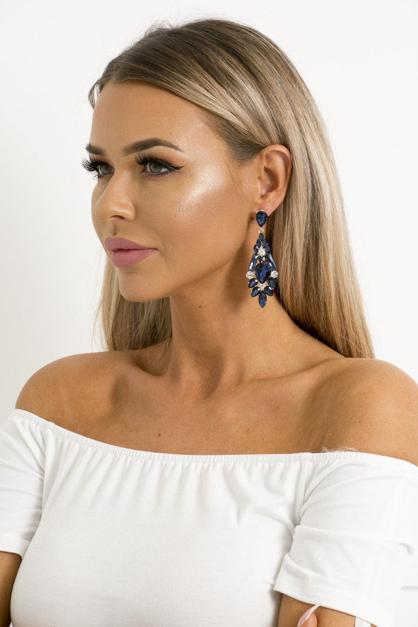 Zoe Earrings in Navy
