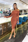 Carmella Rouched Dress in Rust
