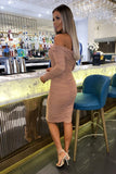Carmella Rouched Dress in Camel
