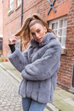 Carter Collared Faux Fur Coat in Grey