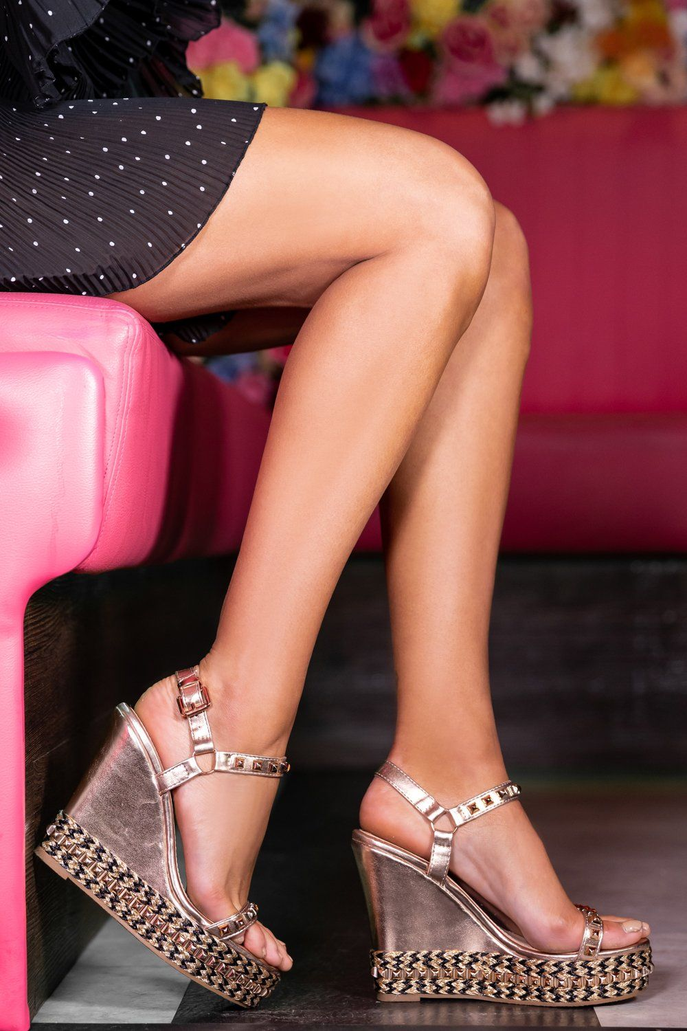 c5a3381528 Ciara Studded Wedges in Rose Gold