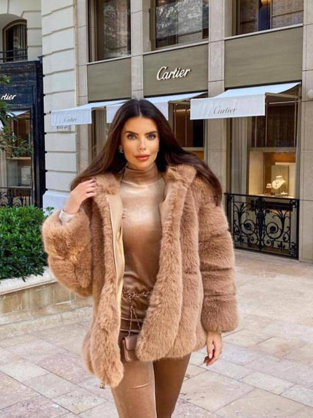 Coco Luxury Faux Fur Coat in Camel