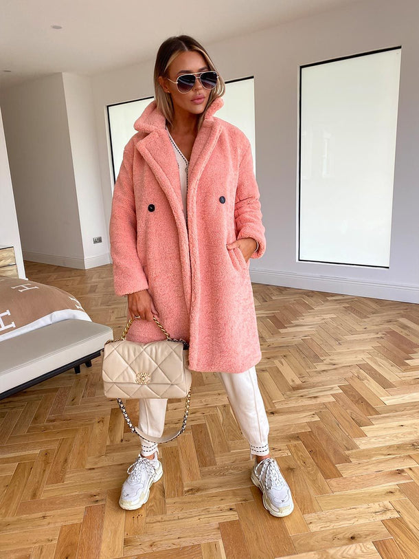 Charlotte Teddy Coat in Coral