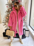 Fara Teddy Coat in Fuschia Pink