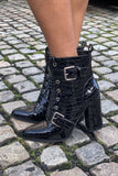 Gemma Patent Croc Heeled Boot in Black