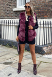 Grace Faux Fur Gilet in Mulberry