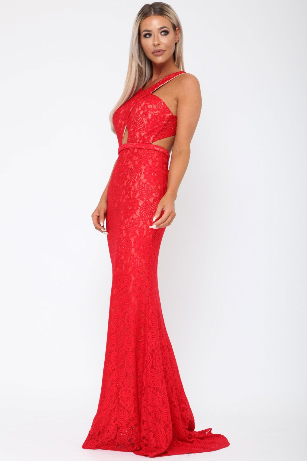 89900ef8a2 Harper Lace Backless Gown in Red 60% ...