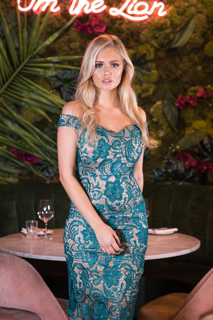 Harlem Lace Midi Dress in Teal