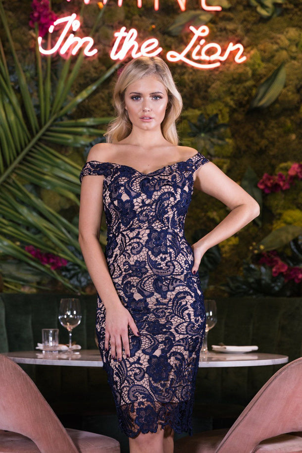 Harlem Lace Midi Dress in Navy