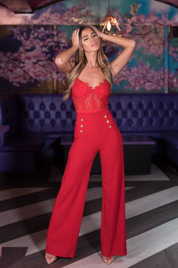 Ivy High Waist Gold Button Trouser in Red