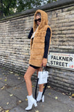 Jade Hooded Faux Fur Gilet in Camel