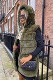 Jade Hooded Faux Fur Gilet in Khaki