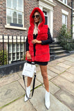 Jade Hooded Faux Fur Gilet in Red