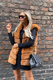 Jade Hooded Faux Fur Gilet in Tan