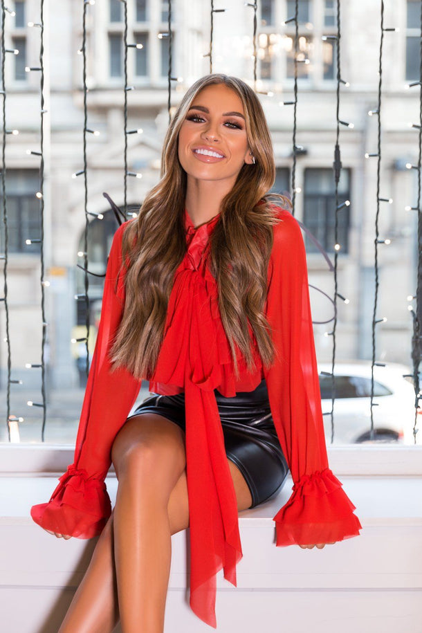 Jessica Spring Ruffle Blouse in Red