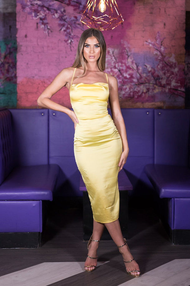Kendall Satin Midi Dress in Lemon
