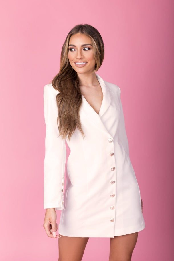 Kylie Blazer Dress in White