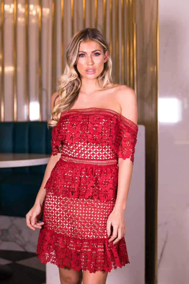 Holly Lace Off the Shoulder Dress in Red