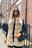 Lauren Faux Fur Gilet in Beige
