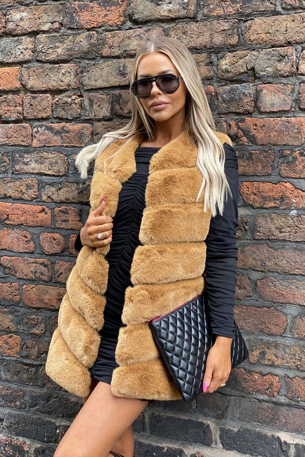 Lauren Faux Fur Short Gilet in Camel
