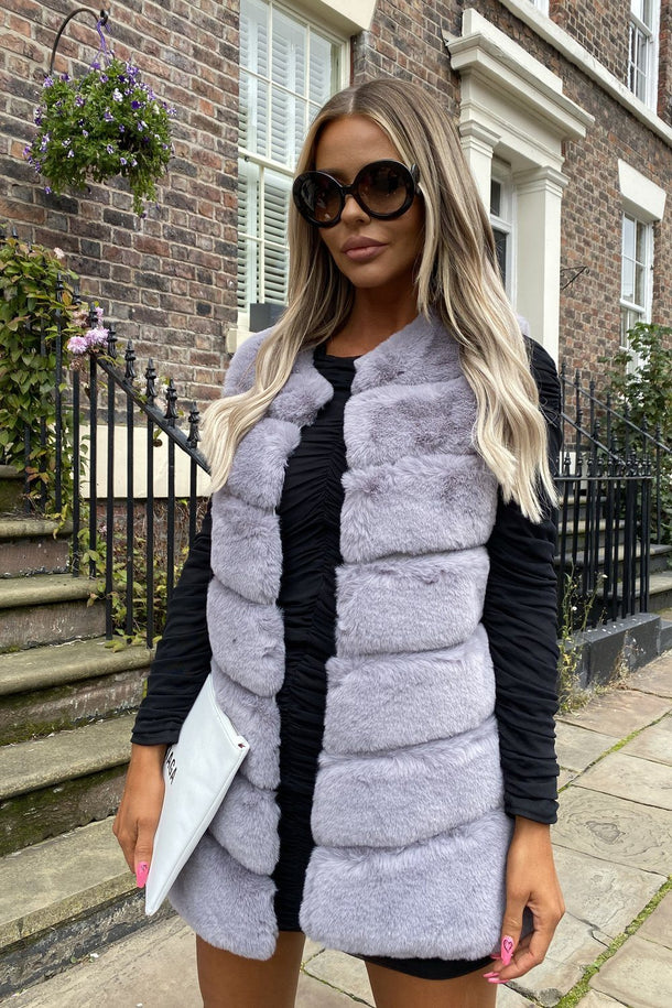 Lauren Faux Fur Short Gilet in Light Grey
