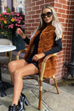 Lauren Faux Fur Gilet in Tan
