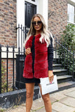 Lauren Faux Fur Gilet in Burgundy