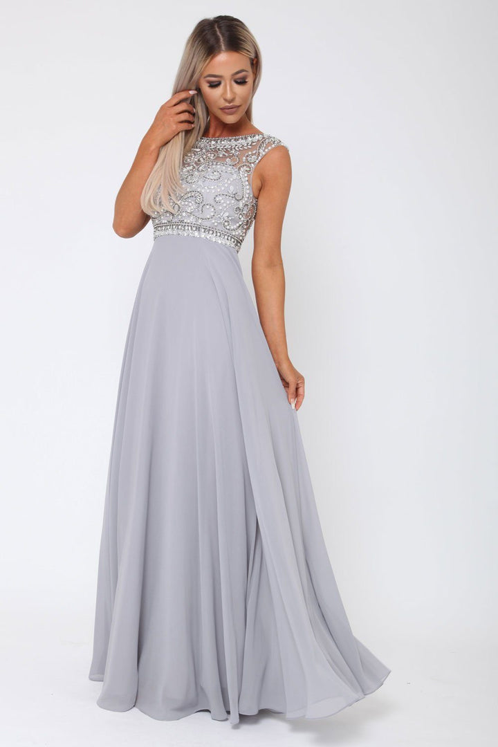 Layla Long Gown in Grey