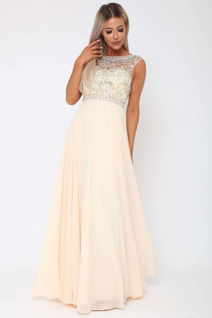 Layla Long Gown In Champagne Cari S Closet